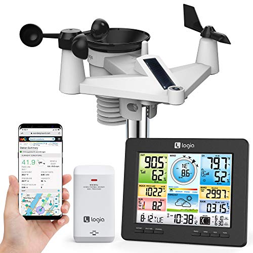 Logia 7-in-1 Wi-Fi Weather Station with Solar | Indoor/Outdoor Remote Monitoring System, Temperature Humidity Wind Speed/Direction Rain UV & More, Wireless Color Console w/Forecast Data, Alarm, Alerts