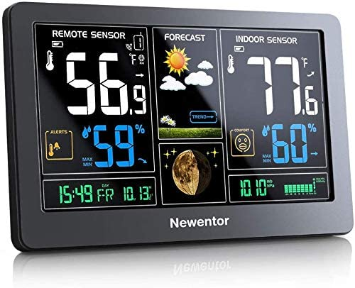 Newentor Weather Station Wireless Indoor Outdoor Thermometer, Color Display Digital Weather Thermometer with Atomic Clock, Forecast Station with Calendar and Adjustable Backlight