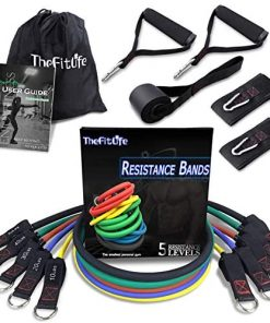 TheFitLife Exercise Resistance Bands with Handles - 5 Fitness Workout Bands Stackable up to 110 - 150 lbs, Training Tubes with Large Handles, Ankle Straps, Door Anchor Attachment, Carry Bag and eBook