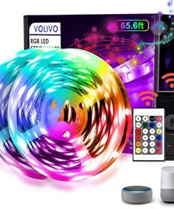 VOLIVO WiFi Smart Led Strip Lights 65.6ft Works with Alexa and Google Assistant, 2 Rolls of 32.8ft Led Light Strips, Music Sync Color Changing RGB Led Lights for Bedroom Kitchen, Party, TV