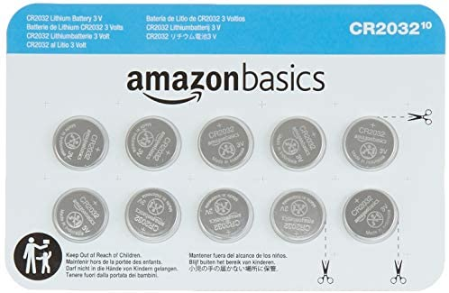 Amazon Basics 10 Pack CR2032 3 Volt Lithium Coin Cell Battery