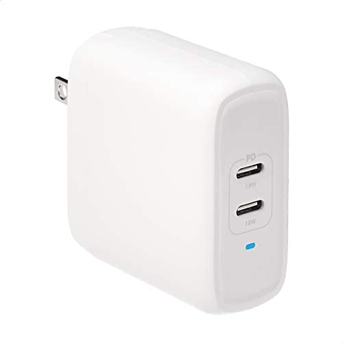 Amazon Basics 36W Two-Port GaN USB-C Wall Charger for Tablets and Phones with Power Delivery - White (non-PPS)