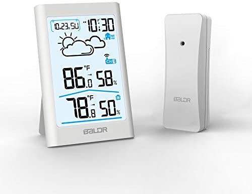BALDR Indoor & Outdoor Thermometer and Hygrometer with White Backlight, Digital Wireless Weather Station, Temperature Monitor & Humidity Gauge, Battery-Operated - White
