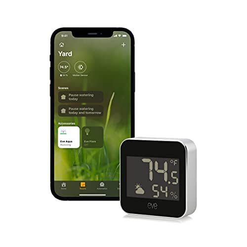 Eve Weather - Apple HomeKit Smart Home, Connected Outdoor Weather Station for Tracking Temperature, Humidity & Barometric Pressure, Precision Sensors, Wireless, Bluetooth and Thread