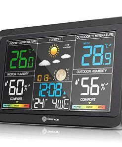 Geevon Wireless Weather Station Indoor Outdoor Thermometer Hygrometer, Digital Temperature Humidity Monitor with Color LCD Display, USB Charging Port, Alarm Clock, 3-Level Backlight