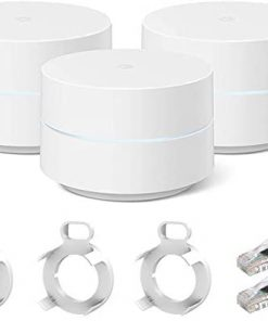 Google GA02434-US WiFi Mesh Network System Router AC1200 Point 3-Pack Bundle with 3X Deco Gear Google WiFi Outlet Wall Mount White and Professional Cable ZERObootCat6 Ethernet Patch Cable