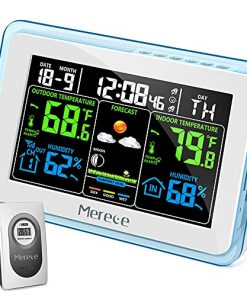 Merece Weather Station Wireless Indoor Outdoor Thermometer, Digital Calendar Weather Thermometer with Temperature Alerts and Dual Alarm Clocks, Color Forecast Station with Air Comfort Level Indicator