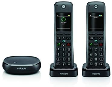 Motorola AXH02 DECT 6.0 Smart Cordless Phone and Answering Machine with Alexa Built-in – 2 Cordless Handsets Included, Black
