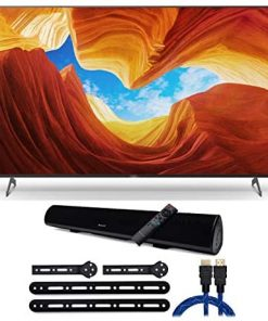 Sony XBR-75X900H 75-Inch Class HDR 4K UHD Smart LED TV (2020 Model) with Knox Gear Wireless Bluetooth Soundbar with mounting Bracket and 4K HDMI Cable Bundle (4 Items)