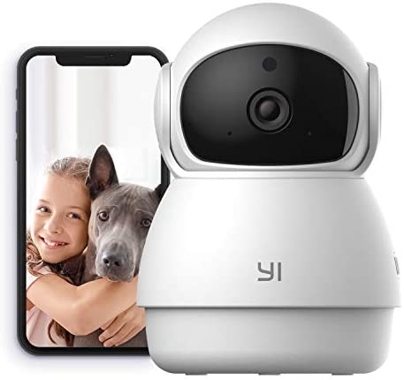 YI Indoor Wireless WiFi Security IP Camera Dome Guard, Smart Nanny Pet Dog Cat Cam with Night Vision, 2-Way Audio, Motion Detection, 360-degree, Phone App, Works with Alexa