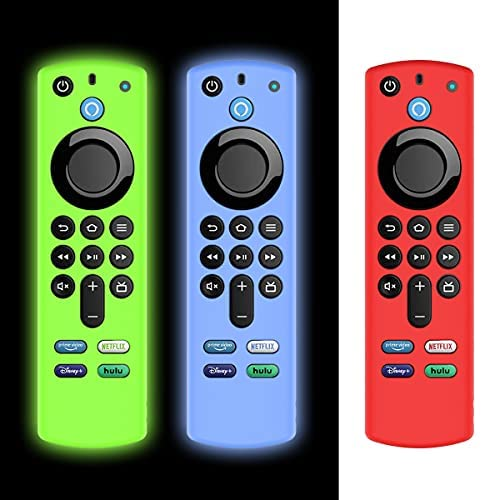 [3Pack] Protective Case for Alexa Voice Remote (3rd Gen)(2021 Release), Silicone Cover Case for Fire TV Stick 2021 Remote Control with Anti-Loss Strap [Light Weight/Shock Proof] [Blue+Green+Red]