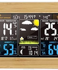 Accurate Weather Stations with Outdoor Sensor Wireless, Colour Screen The Weather Station for Home/Garden/Indoor/Outdoor (Wood)