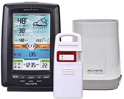AcuRite 01021M Color Weather Station with Rain Gauge and Lightning Detector , Black