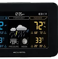 AcuRite 02027A1 Color Weather Station with High Low Temperature and Humidity with Moon Phase, Dark Themed (02027A), Black Display