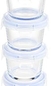 Amazon Basics ABL001 glass storage, 0.6-Cup, clear with blue lids
