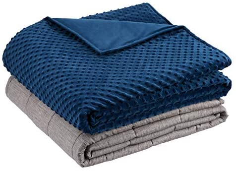 """Amazon Basics Weighted Blanket with Minky Duvet Cover - 15lb, 60x80"""", Navy/Grey"""
