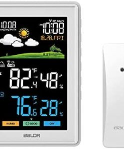 BALDR Weather Station Wireless Indoor Outdoor Thermometer - Color LCD Display Weather Forecast - Atomic Wall Clock - Temperature and Humidity Monitor - Digital Calendar - 5 Level Backlight Brightness