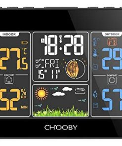 CHOOBY Weather Station, Wireless Indoor Outdoor Thermometer with Sensor,Color LCD Display, Temperature and Humidity Gauge, Inside Outside Thermometer, Alarm for Weather Forecast