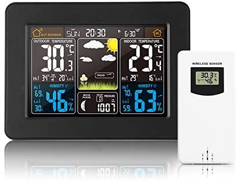 Konesky Wireless Weather Station Forecast Clock, Indoor Outdoor Digital Hygrometer Thermometer, Weather Forecast Station with HD Color Screen, Temperature Humidity Gauge with Sensor
