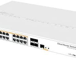 Mikrotik CRS328-24P-4S+RM 24 port Gigabit Ethernet router/switch with four 10Gbps SFP+ ports in 1U rackmount case, Dual Boot and PoE output, 500W