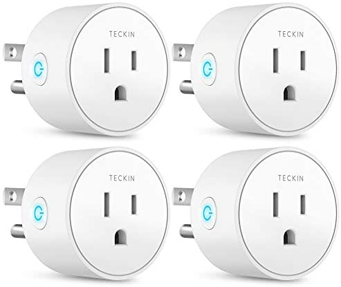 Smart Plug Works with Alexa Google Assistant SmartThings for Voice Control, Teckin Mini Smart Outlet Wifi plug with Timer Function, No Hub Required, White Fcc Etl Certified