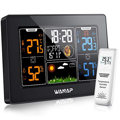 Wanap Weather Station, Wireless Weather Station Indoor Outdoor Thermometer Temperature and Humidity Weather, Digital Colorful Display Multifunctional Weather Forecast Hygrometer Barometer, Radio Clock
