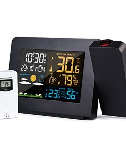 Weather Station, Wireless Weather Forecast Station, Indoor Outdoor Thermometer Hygrometer with Sensor, Projection Alarm Clock and Moon Phase, Adjustable Backlight Display Screen