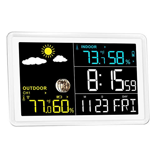 Wittime 2081 Weather Station Wireless Indoor Outdoor Thermometer Hygrometer Barometer, Digital Inside Outside Humidity and Temperature Monitor with Color LCD Screen,Remote Sensor Included