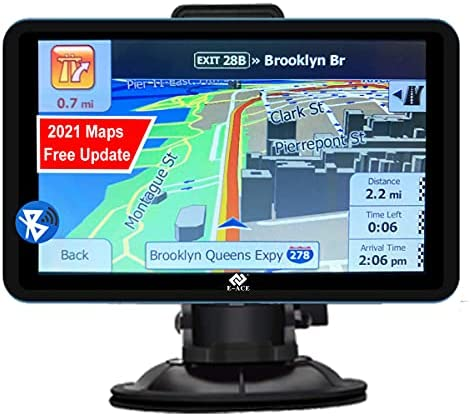 """E-ACE GPS Navigation for Car with Bluetooth 5"""" Touchscreen 8GB+128M Vehicle GPS Navigator System Real Voice Spoken Turn Direction Reminding GPS for Car with Lifetime Free Map Update (G515, 5 inch)"""