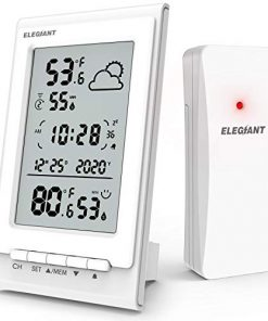 ELEGIANT EOX-9901 Wireless Weather Station, Indoor Outdoor Thermometer Hygrometer with Sensor, Digital Temperature Humidity Monitor, Weather Forecast, Time & Date & Snooze, Support 3 Channels