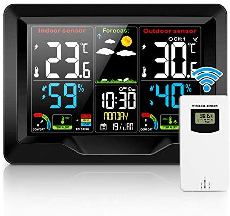 Jhua Weather Stations Wireless Indoor Outdoor Thermometer andHumidityMonitor, LCD Color Display DigitalWeatherForecast Station with Calendar Dual Alarm Color Adjustable Backlight for Home, Office