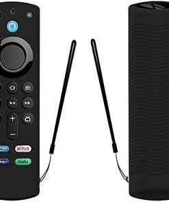 LEWOTE Silicone Case for Alexa Voice Remote(3rd Gen)(2021 Release) - Luminous Shockproof Full Protection Cover for Fire TV Stick (2021) Remote Control (Black)