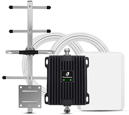 Phonetone Cell Phone Signal Booster for Home and Office Up to 5,000 Sq Ft   Boost 4G LTE Data for Verizon and AT&T   65dB Dual Band 12/17/13 Cellular Repeater with High Gain Antennas   FCC Approved