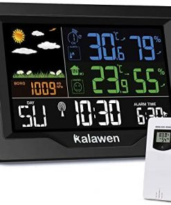 Weather Station Wireless Indoor Outdoor Thermometer with Atomic Clock, Color Large Display Digital Weather Forecast Stations Thermometer with Alarm Clock