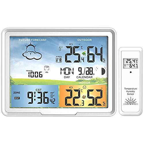 White Weather Station Wireless Indoor Outdoor Sensors with Jumbo Display and Atomic Clock, Digital Color Forecast Station with Alerts,Temperature and Relative Humidity Detector