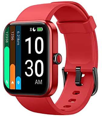 """YAMAY Smart Watch for Android Phones Compatible with iPhone Samsung 2021 Ver., Watch for Men Women with 1.69"""" HD Large Screen Alexa Built-in, Blood Oxygen & Heart Rate Monitor 5ATM Waterproof (Red)"""
