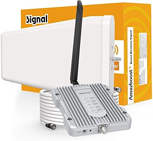 Amazboost S1 Cell Phone Signal Booster-Verizon, AT&T, Sprint, T-Mobile 2G,3G, 4G and LTE(All US Carriers-band12, 13,17,5,25,2,4),Cell Phone Repeater with Antenna for Home Covers Up to 2500 Sq Ft