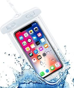 j.MAEHome! Universal Waterproof Pouch Cellphone Dry Bag Case for iPhone 12 Pro Max 11 Pro Max Xs Max XR X 8 7 6S Plus SE, Galaxy S20 Ultra S20+ S10 Plus S10e /Note 10+ 9, White Pixel 4XL