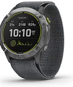 Garmin Enduro, Ultraperformance Multisport GPS Watch, Solar Charging, Battery Life Up to 80 Hours in GPS Mode, Steel with Gray UltraFit Nylon Band