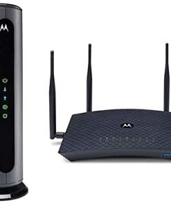 Motorola MB8600 Cable Modem + AC2200 Smart Wi-Fi Router with Extended Range   Top Tier Internet Speeds   Approved for Comcast Xfinity, Cox, and More – Separate Modem and Router Bundle