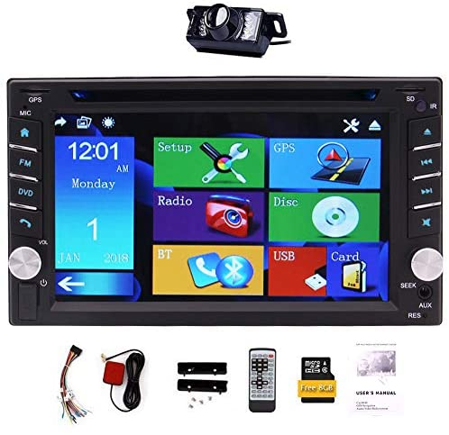 """Upgrade Version With Camera ! 6.2"""" Double 2 DIN Car DVD CD Video Player Bluetooth GPS Navigation Digital Touch Screen Car Stereo Radio Car PC 800MHZ CPU"""