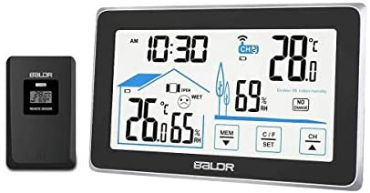 Jhua Weather Stations Wireless Indoor Outdoor ThermometerWireless WeatherStation Digital Hygrometer Temperature Humidity Monitor Forecast with Outdoor Sensor and Backlight for Home Office