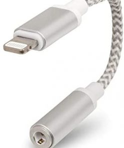 Realm Lightning to 3.5mm Headphone Jack Adapter, 3.5mm Audio Adapter Compatible with iPhone, White