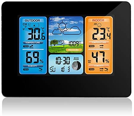 SOOTOP Digital Forecast Weather Station, with Clock and Temperature, Humidity, Barometer, Alarm, Moon Phase, Outdoor Sensor