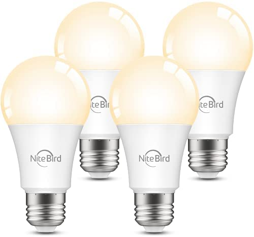 Smart Light Bulbs, Nitebird Dimmable LED Bulbs Work with Alexa and Google Home, 2700K Warm White 800 Lumens WiFi Light Bulb, A19 E26 75W Equivalent, 2.4GHz WiFi Only, No Hub Required, 4 Pack