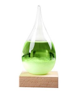 Alueery Colorful Drop-Shaped Storm Glass Weather Station Unique Weather Forecast Expert, Perfect Home and Office Decoration (Green, 2.4x2.4x4.7inch)