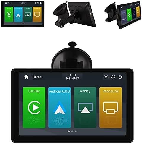 BROxiongdi GPS Navigation, Wireless Dashboard Console with Apple Carplay/Android Auto, 7 Inch IPS Touchscreen, Multimedia Player, Mirror Link, SiriusXM, Google, Siri Assistant