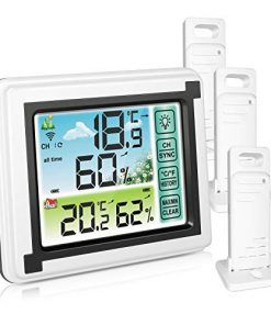 Number-one Wireless Weather Station Indoor Outdoor Thermometer with 3 Remote Sensor, Digital Temperature and Humidity Monitor with LCD Backlight, Touchscreen, Min/Max Records for Home,Office,Baby Room