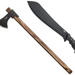 CRKT Halfachance Fixed Blade Parang Machete and Cimbri Two Handed Axe Max Survival Bundle