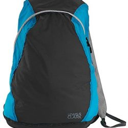 Lewis N. Clark Women's Packable Daypack, Hiking Camping Backpack, Ditty Bag, Charcoal/Bright Blue, One Size